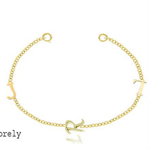 Family Single Initials Bracelet - Yellow Gold
