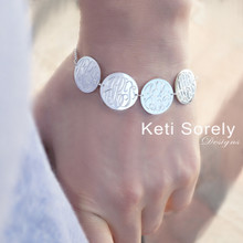 Hand Engraved Initials Disc Bracelet With Family Initials - Choose Your Metal