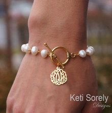 Fresh Water Pearl Bracelet with Monogrammed Initials - Choose Metal