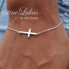 Celebrity Style Sideways Cross Bracelet - Choose Your Metal