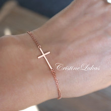 Celebrity Style Sideways Cross Double Chain Bracelet - Choose Your Metal