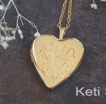 Heart  Locket With Engraved Monogram Initials in Yellow or White Gold