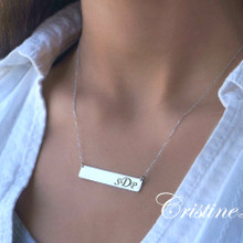Celebrity Style Medium Size Bar Necklace with Engraved Initials -Choose Your Metal