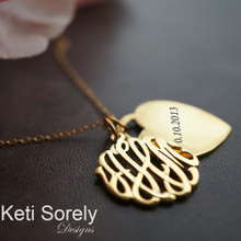 Monogram Initials Pendant with Engraved Heart Charm