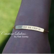 Personalized Skinny Bar Bracelet - Engrave Initials, Date, Coordinates, Roman Numerals, Etc