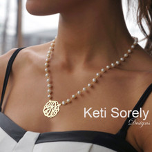 White Pearl Necklace with Monogrammed Initials - Choose Your Metal
