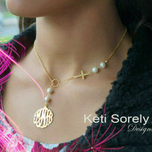 Sideways Cross Lariat Necklace With Monogram Initials & Pearls - Choose Your Metal