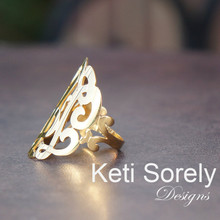 Swirly Monogram Initials Ring in Sterling Silver, Yellow, Rose or White Gold