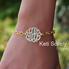 Large Link Bracelet with Monogrammed Initials Charm - Choose Your Metal