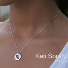 Modern Initial Charm Necklace - Sterling Silver or Solid Gold