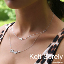 Layered Name Necklace with Sideways Cross - Choose Your metal