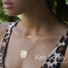 Sideways Cross and Script Monogram Double Necklace  - Choose Your Metal
