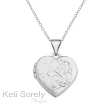 Hand Engraved Heart Monogram Initial Locket - Silver, Yellow or Rose Gold