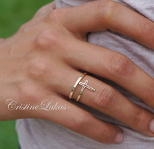 30% OFF -Double Wrap Celebrity Style Sideways Cross Ring - Yellow Gold