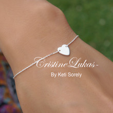 70% OFF - Dainty Heart Bracelet or Anklet - Sterling Silver