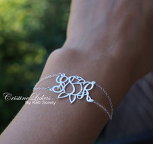 Monogram Bracelet with Rose Flower & Double Chain - White Gold