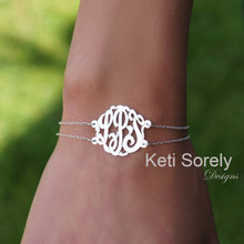 Monogrammed Initial Bracelet or Anklet with Double Chain - Choose Your Metal