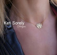 Modern Letters Block Monogram Necklace - Sterling Silver or Solid Karat Gold