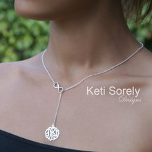 Lariat Monogram Necklace With Infinity Charm - Sterling Silver or Solid Karat Gold