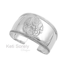Hand Engraved Large Cuff Bangle With Ornaments - Sterling Silver