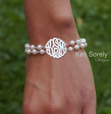 Double String Fresh Water Bracelet with Monogrammed Initials - Sterling Silver