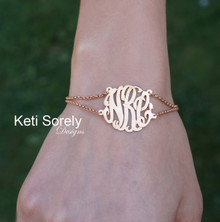 Double Chain Monogram Bracelet or Anklet with Rolo Chain - Rose Gold