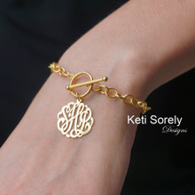 Large Link Toggle Bracelet with Initial Monogram Charm - Choose Metal