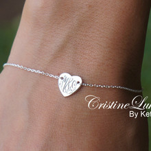 Hand Engraved Monogram Heart Bracelet - White Gold