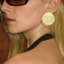 Hand Engraved Earring with monogrammed Initials - Gold Overlay