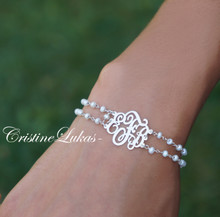 Double String Gemstone Bracelet with Monogrammed Initials - Sterling Silver