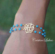 Double String Gemstone Bracelet with Monogrammed Initials - Sterling Silver With Gold