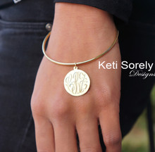 Hand Engraved Monogram Disc Bangle - Yellow Gold