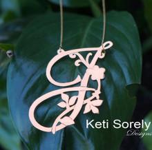 Custom order - 10K Rose Gold Floral Initial