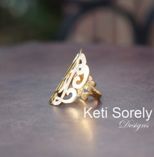 Custom Order w- White Gold Swirly Initials Ring 1""
