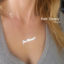 Order Your Name or Signature Necklace With Sideways Cross - Choose Your Metal