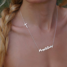 Custom Made Names or Date Necklace With Sideways Cross - Choose Your Metal