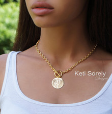 Engraved Monogram Disc Necklace With Toggle Clasp - Choose Your Metal