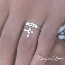 Personalized Name Ring with Cross - Double Wrap Ring  - Choose Your Metal