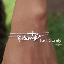 Sideways Cross & Name Bracelet- Choose Your Metal