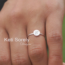 Hand Engraved Round Disc Initial Ring - Solid Yellow, White or Rose Gold