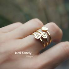 Hand Engraved Mini Initial Disc Ring - Choose Metal