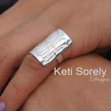 Hand Engraved Rectangle Ring - Choose Metal