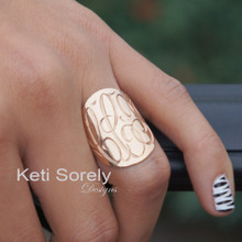 "Hand Engraved Large Oval Monogram Initials Ring 1""- Sterling Silver, Gold Filled, Yellow, Rose or White Gold"