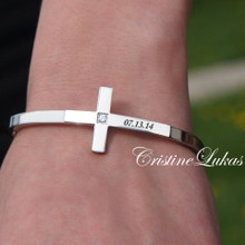 Sideways Cross Bangle With CZ Stone & Engraved Name - Stainless Steel Silver Tone