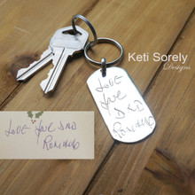 Handwriting Message Key Chain For Man - Sterling Silver or Yellow Gold