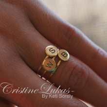 Family Initials Stacking Rings Set  - Solid Gold