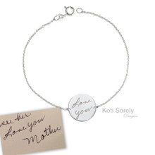 Handwritten Round Disc Bracelet  -Choose Your Metal