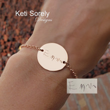 Handwritten Message Round Disc Bracelet  -Choose Your Metal