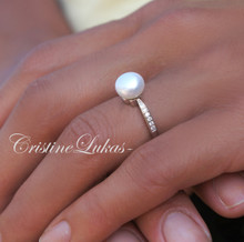 40% OFF -  Fresh Water Pearl Ring with CZ Stones -Sterling Silver