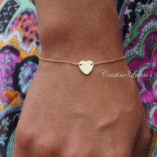 Dainty Heart Bracelet or Anklet in Solid Gold